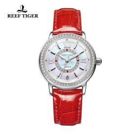 Love Promise White MOP Dial Diamonds Bezel Red Leather Quartz Watch