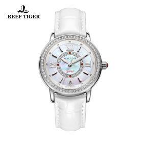 Love Promise Steel White MOP Dial Diamonds Bezel White Leather Quartz Watch