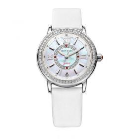 Love Promise White MOP Dial Diamonds Bezel White Leather Quartz Watch