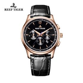 Seattle Museum Black Dial Rose Gold Black Leather Automatic Watch