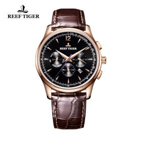 Seattle Museum Black Dial Rose Gold Brown Leather Automatic Watch