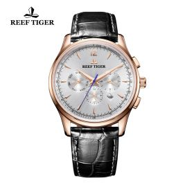 Seattle Museum White Dial Rose Gold Black Leather Automatic Watch