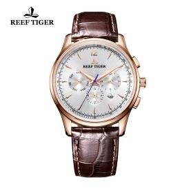 Seattle Museum White Dial Rose Gold Brown Leather Automatic Watch