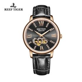 Love Double Star Black Dial Black Leather Strap Rose Gold Watch