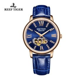 Love Double Star Blue Dial Blue Leather Strap Rose Gold Watch