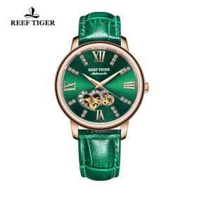 Love Double Star Green Dial Green Leather Strap Rose Gold Watch