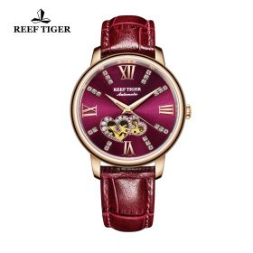Love Double Star Purple Dial Purple Leather Strap Rose Gold Watch