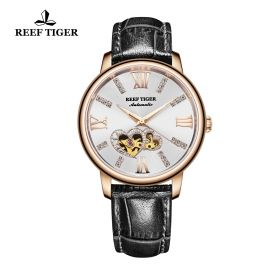 Love Double Star Silver Dial Black Leather Strap Rose Gold Watch