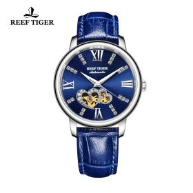Love Double Star Blue Dial Blue Leather Strap Steel Watch