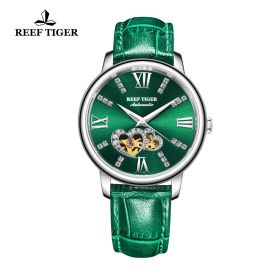Love Double Star Green Dial Green Leather Strap Steel Watch