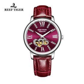 Love Double Star Purple Dial Purple Leather Strap Steel Watch