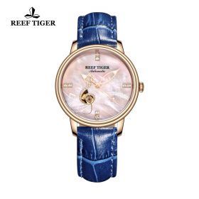 Love Melody Pink Dial Rose Gold Bezel Blue Leather Rose Gold Watch