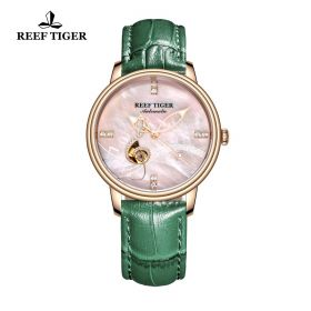 Love Melody Pink Dial Rose Gold Bezel Green Leather Rose Gold Watch