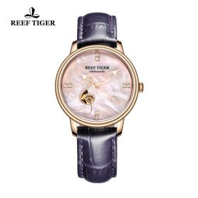 Love Melody Pink Dial Rose Gold Bezel Purple Leather Rose Gold Watch
