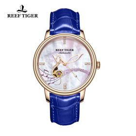 Love Melody White Dial Rose Gold Blue Leather Automatic Watch