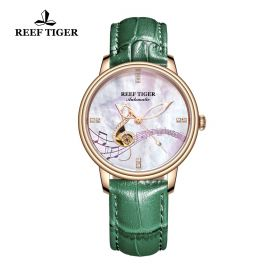 Love Melody White Dial Rose Gold Green Leather Automatic Watch