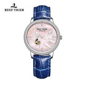 Love Melody Pink Dial Steel Bezel Blue Leather Steel Watch