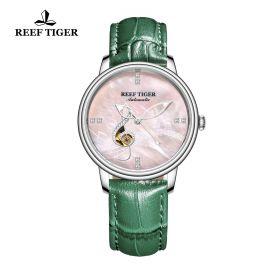 Love Melody Pink Dial Steel Bezel Green Leather Steel Watch