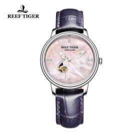 Love Melody Pink Dial Steel Bezel Purple Leather Steel Watch