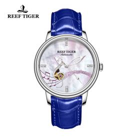 Love Melody White Dial Steel Blue Leather Automatic Watch