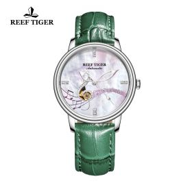 Love Melody White Dial Steel Green Leather Automatic Watch
