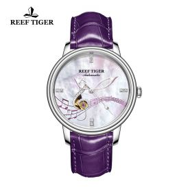 Love Melody White Dial Steel Purple Leather Automatic Watch
