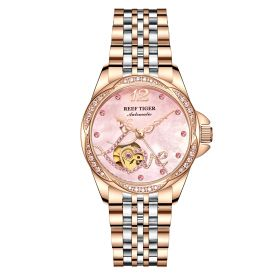 Love Double Heart & Flower Luxury Flower Diamond Women Rose Gold Bracelet Automatic RGA1583-PPPP