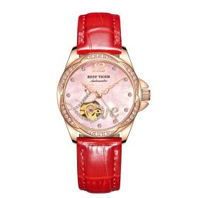 Love Double Heart & Flower Luxury Women Automatic Watch Gold Rose Flower Diamond Leather Strap RGA1583-PPR