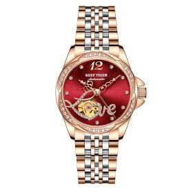 Love Double Heart & Flower Luxury Flower Diamond Red Dial Women  Rose Gold Bracelet Automatic RGA1583-PRP