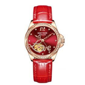 Love Double Heart & Flower Luxury Gold Rose Flower Diamond  Red Dial Women Automatic Watches RGA1583-PRR