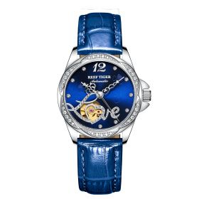 Love Double Heart & Flower Luxury Steel Flower Diamond Women Fashion Automatic Watch Blue Leather Strap RGA1583-YLL
