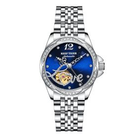 Love Double Heart & Flower Luxury Flower Diamond Women Steel Bracelet Automatic RGA1583-YLY