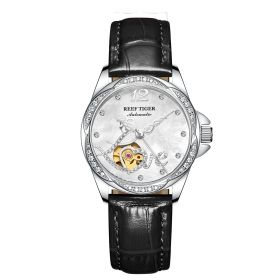 Love Double Heart & Flower Luxury Steel Ladies Watch Automatic Watches Black  Leather Strap RGA1583-YWB
