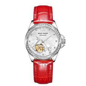 Love Double Heart & Flower Luxury Ladies Watch Steel Diamond Automatic Watches Leather Strap RGA1583-Y