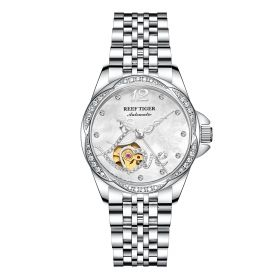 Love Double Heart & Flower Luxury Diamond Flower Women Steel Bracelet Automatic RGA1583-YWY