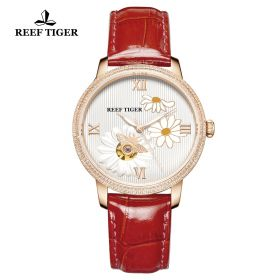 Love Bee White Dial Roman Numeral Markers Red Leather Strap Rose Gold Watch