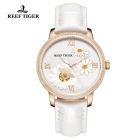 Love Bee White Dial Roman Numeral Markers Rose Gold Watch