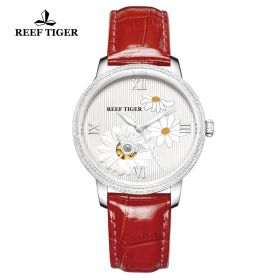 Love Bee White Dial Roman Numeral Markers Red Leather Strap Steel Watch