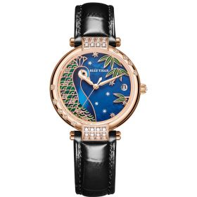 Love Peacock Stainless Steel Rose Gold Case Blue Dial Watch