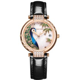 Love Peacock Stainless Steel Rose Gold Case White Dial Watch