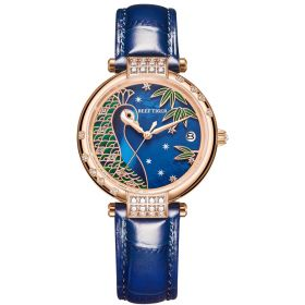 Love Peacock Blue Dial Stainless Steel Rose Gold Case Watch