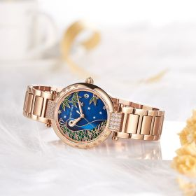 Love Peacock Rose Gold Case Blue Dial Stainless Steel Strap Watches RGA1587-PLS