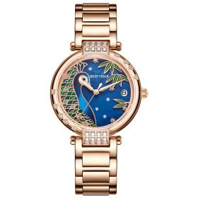 Love Peacock Rose Gold Case Blue Dial Stainless Steel Strap Watch