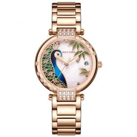 Love Peacock Rose Gold Case White Dial Stainless Steel Strap Watch