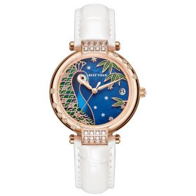 Love Peacock Rose Gold Case Blue Dial Stainless Steel Watch