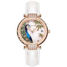 Love Peacock White Dial Rose Gold Case Stainless Steel Watches RGA1587-WWL