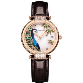 Love Peacock Rose Gold Case Stainless Steel White Dial Watch
