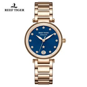 Love Polaris Rose Gold Blue Dial Diamonds Dots Markers Watch