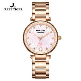 Love Polaris Rose Gold Pink Dial Diamonds Dots Markers Watch