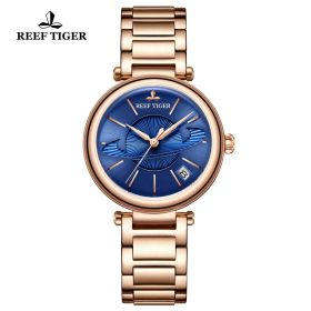 Love Saturn Rose Gold Blue Dial Stick Markers Watch